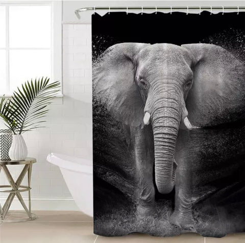 Black & White Elephant Photo Shower Curtain