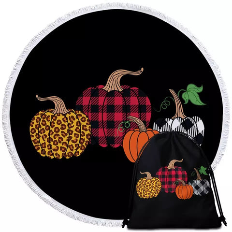 Four Patterned Pumpkins Round Towel