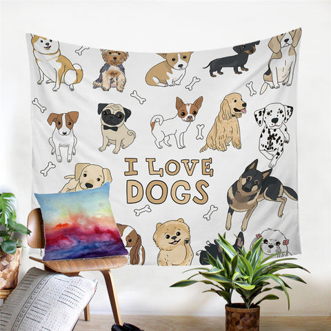 I Love Dogs Wall Tapestry