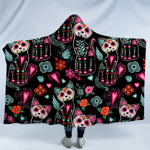 Day Of The Dead Cats Hooded Blanket