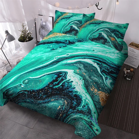 Greens Marble Bedding Set