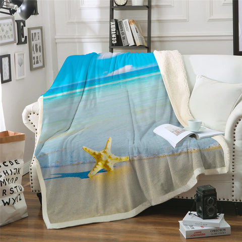 Beach View With Starfish Throw Rug