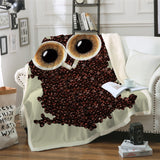 Coffee Beans Owl Throw Rug