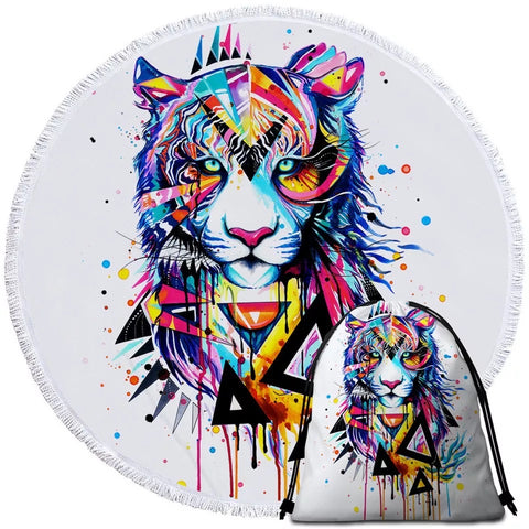 Shattered Tiger By Pixie Cold Art Round Towel