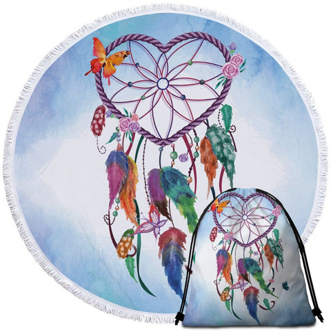 Heart Dreamcatcher (Blue) Round Towel