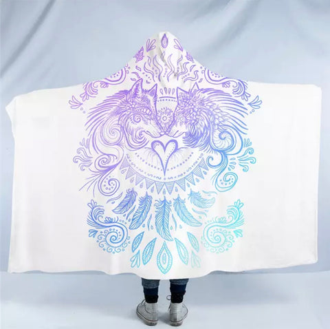 Wolves Heart (White) By SunimaArt Hooded Blanket