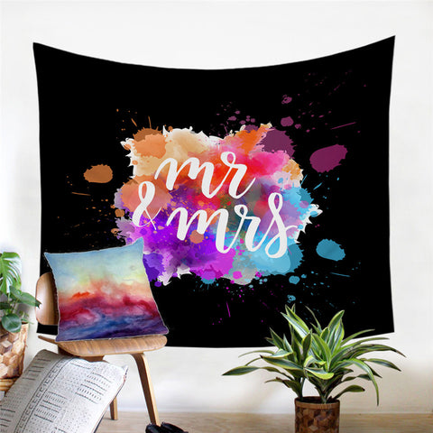 Mr & Mrs Rainbow Splash Wall Tapestry
