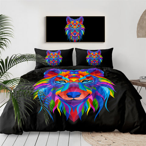 Rainbow Wolf Head Bedding Set