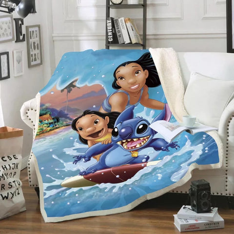 Lilo, Nani And Stitch Surfing Throw Rug