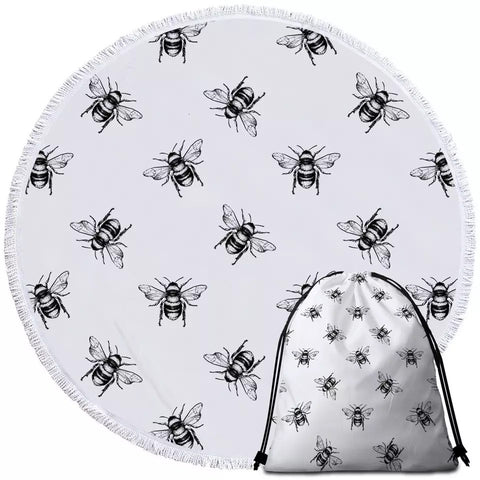 Black & White Bees Round Towel