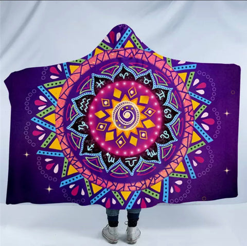 Zodiac Mandala By Lionhearts Hooded Blanket