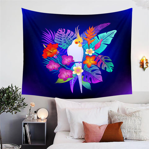 White Cockatiel & In The Tropics Wall Tapestry