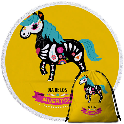 Day Of The Dead Horse Round Towel