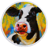Acrylic Painting Cow Round Towel