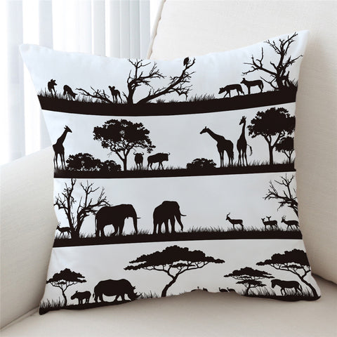 Black & White African Savanna Cushion Cover