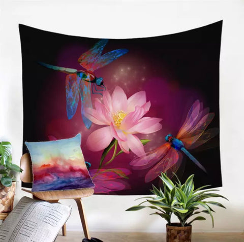 Three Dragonflies & Lotus Flower Wall Tapestry