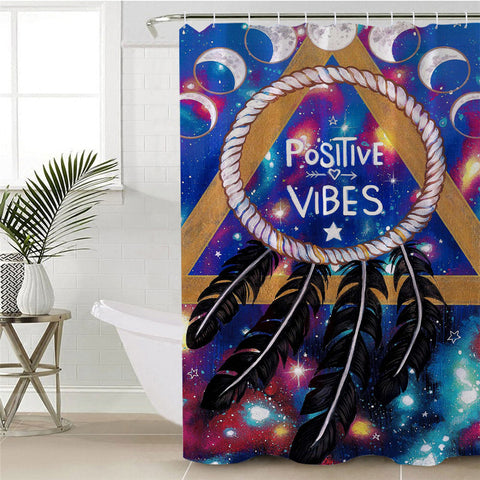 Positive Vibes Moon By Pixie Cold Art Shower Curtain