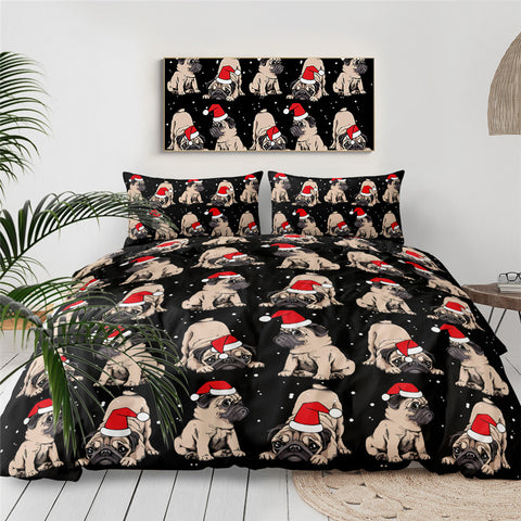 Christmas Pug Bedding Set