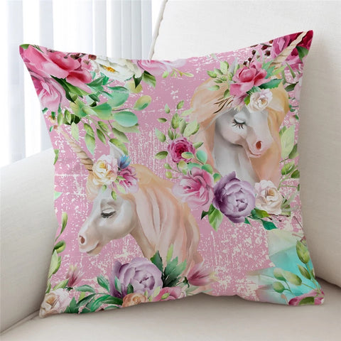 Floral Unicorns (Pink) Cushion Cover