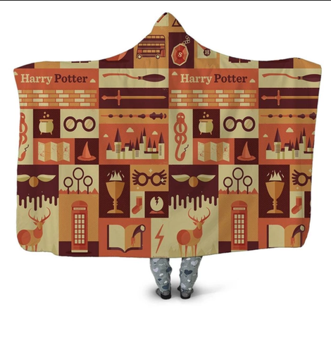 Orange Harry Potter Symbols Hooded Blanket