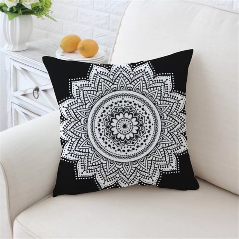 Black & White Mandala Flower Cushion Cover