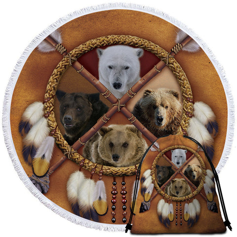 Bears Dreamcatcher Round Towel