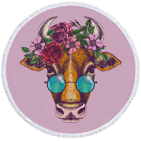Hippie Cow Round Towel