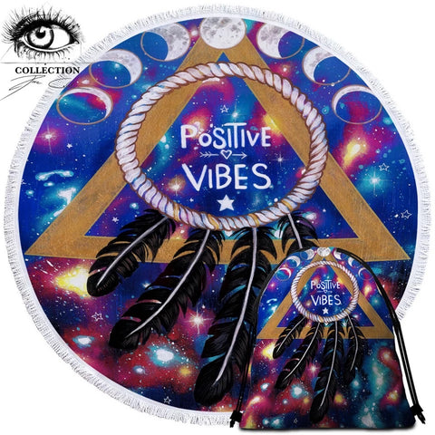 Positive Vibes Moon By Pixie Cold Art Round Towel