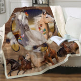 Horses Dreamcatcher Throw Rug