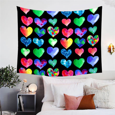 Watercolour Hearts Wall Tapestry
