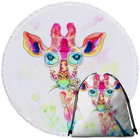 Watercolour Giraffe Wearing Glasses Round Towel