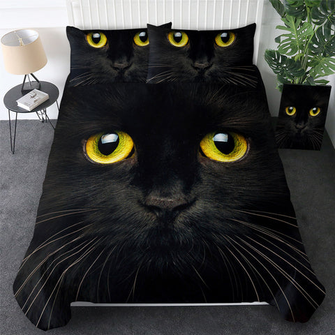 Black Cats Yellow Eyes Bedding Set