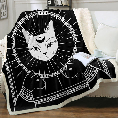 Black & White Pharaohs Cats Hooded Blanket