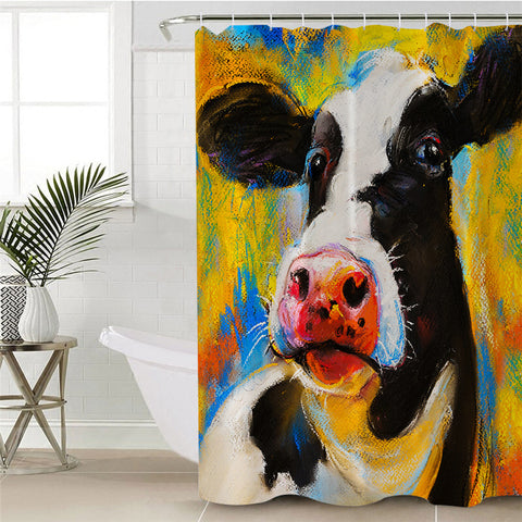 Acrylic Painting Cow Shower Curtain