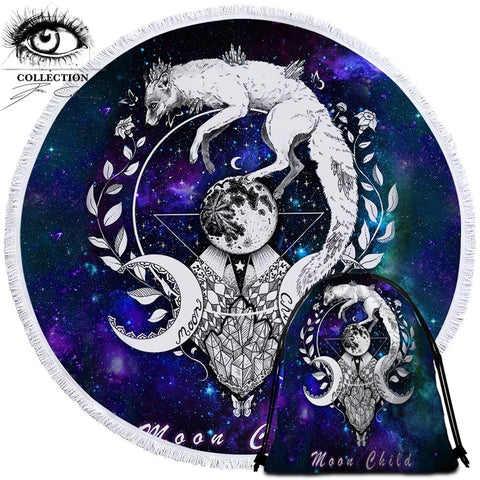 Moon Child By Pixie Cold Art Round Towel