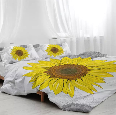 Sunflower Drawing Bedding Set