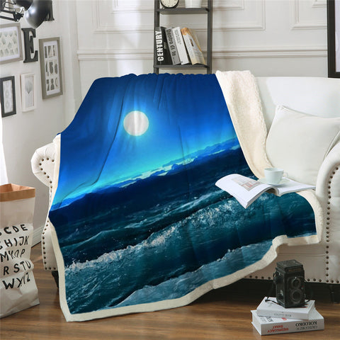 Ocean View At Night Throw Rug