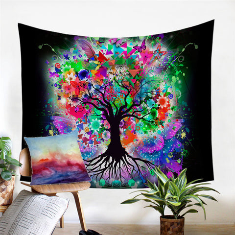 Bright & Colourful Tree Wall Tapestry