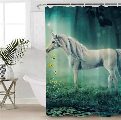Unicorn (Green) Shower Curtain