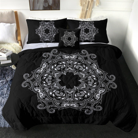 Black & White Oriental Mandala Flower Comforter Set