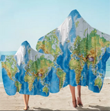 World Map Hooded Towel