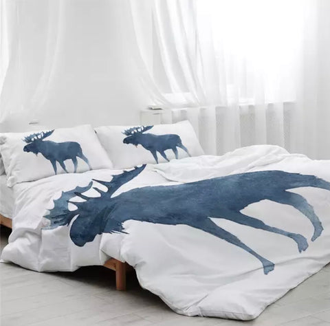 Silhouette Moose Watercolour Bedding Set