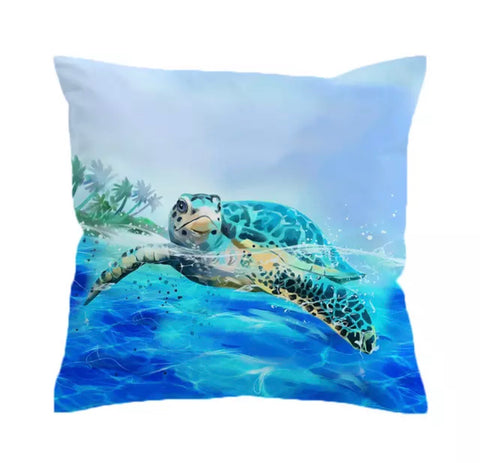 Turtle Swimming On The Surface Of Ocean Cushion Cover