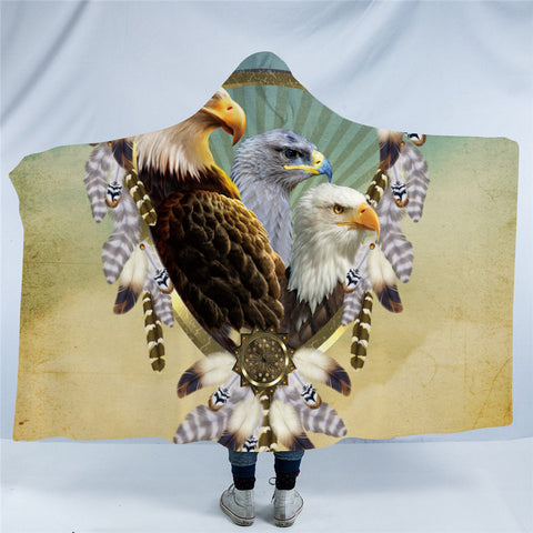 Three Bald Eagle Dreamcatcher Hooded Blanket