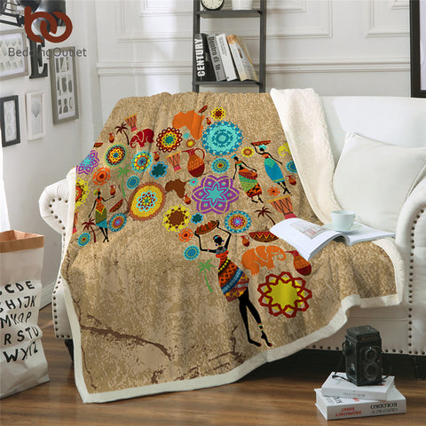 African Mandala Map Throw Rug
