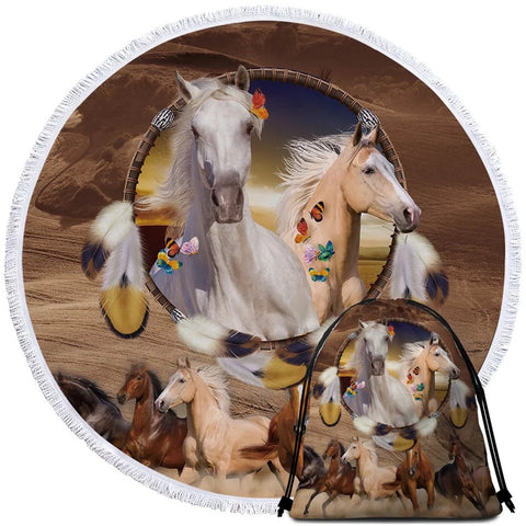 Horse Dreamcatcher Round Towel