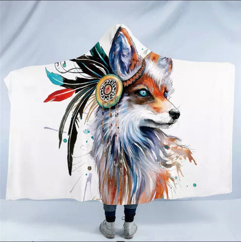 Fox By Pixie Cold Art Hooded Blanket