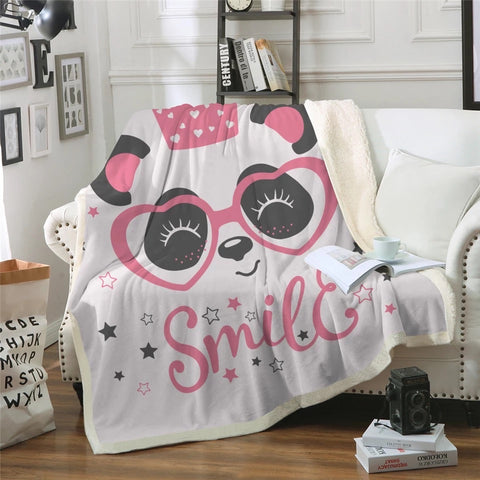 Pink Smile Panda Throw Rug