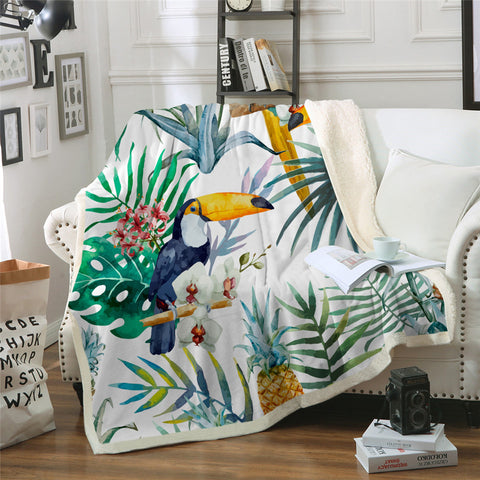Toucan In The Tropics Throw Rug
