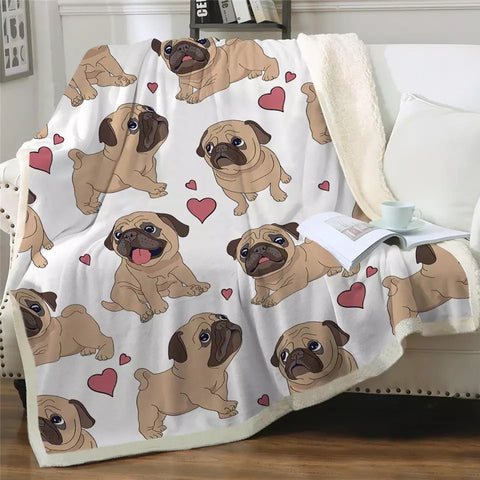 Pug Love Throw Rug